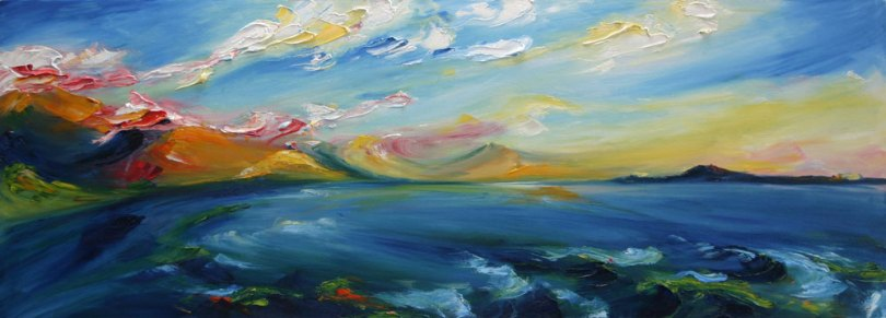 Tralee bay in the evening painted in rich brush and palette knife style