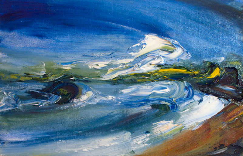 Waves crashing over rocks on Courtown beach painted with bold texture and colour