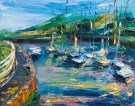 oil painting of boats in Courtown harbour in Ireland