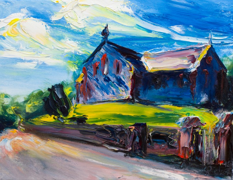 landscape painting Tara Hill church with bright colours on a sunny day