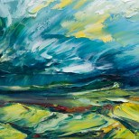 oil painting of rain approaching the Sugarloaf on a bright morning