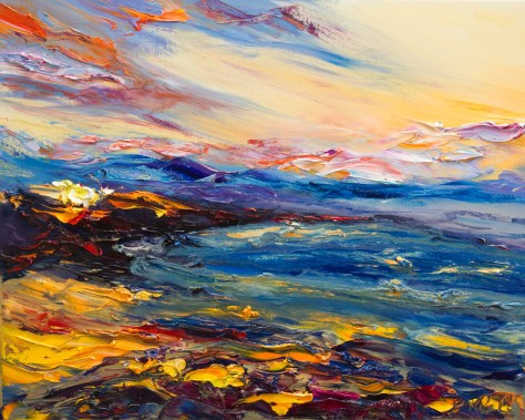 seascape oil painting with warm evening colours