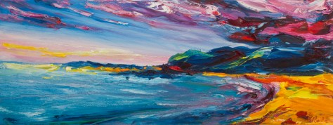 colourful evening-time painting of Ballymoney beach in Wexford