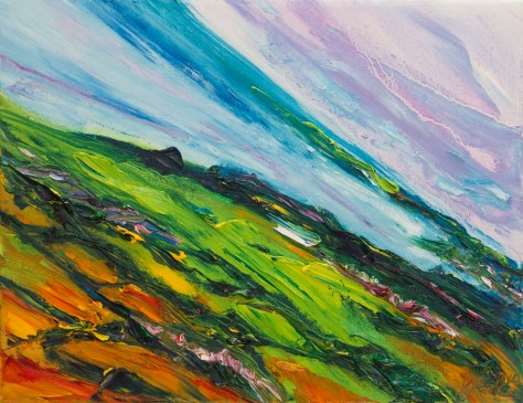 vivid, colourful painting from Tara Hill looking over Seafield and Courtown