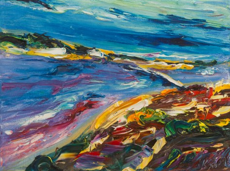 colourful impasto painting overlooking Wexford town and harbour