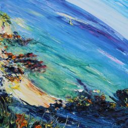 Oil painting of sunny beach in Howth