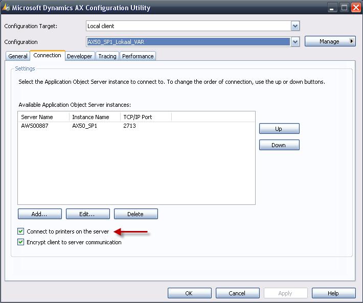 Client configuration