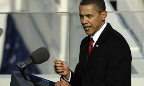 President Barack Obama gives his inaugural address. Photograph: Chip Somodevilla/Getty
