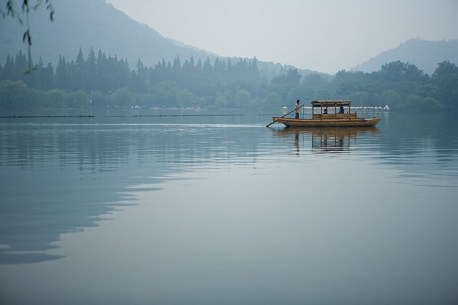 Just one of many boats on Hangzhou's West Lake.