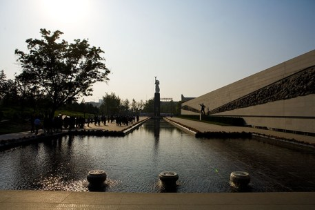 At the end of the exhibit, there was a large reflecting pool with a tower dedicated to peace in the distance.