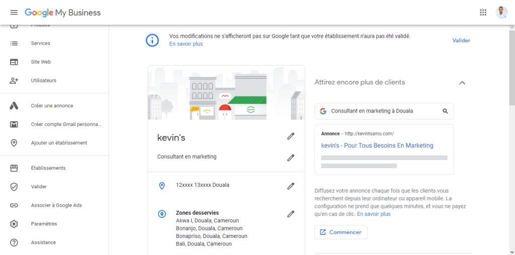 Tableau de board Google My Business