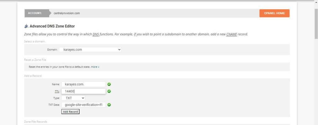Configuration du fichier dns txt sur SiteGround