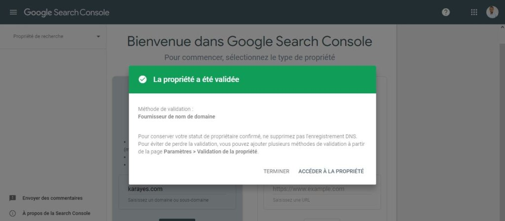 Validation de la propriété Google Search Console