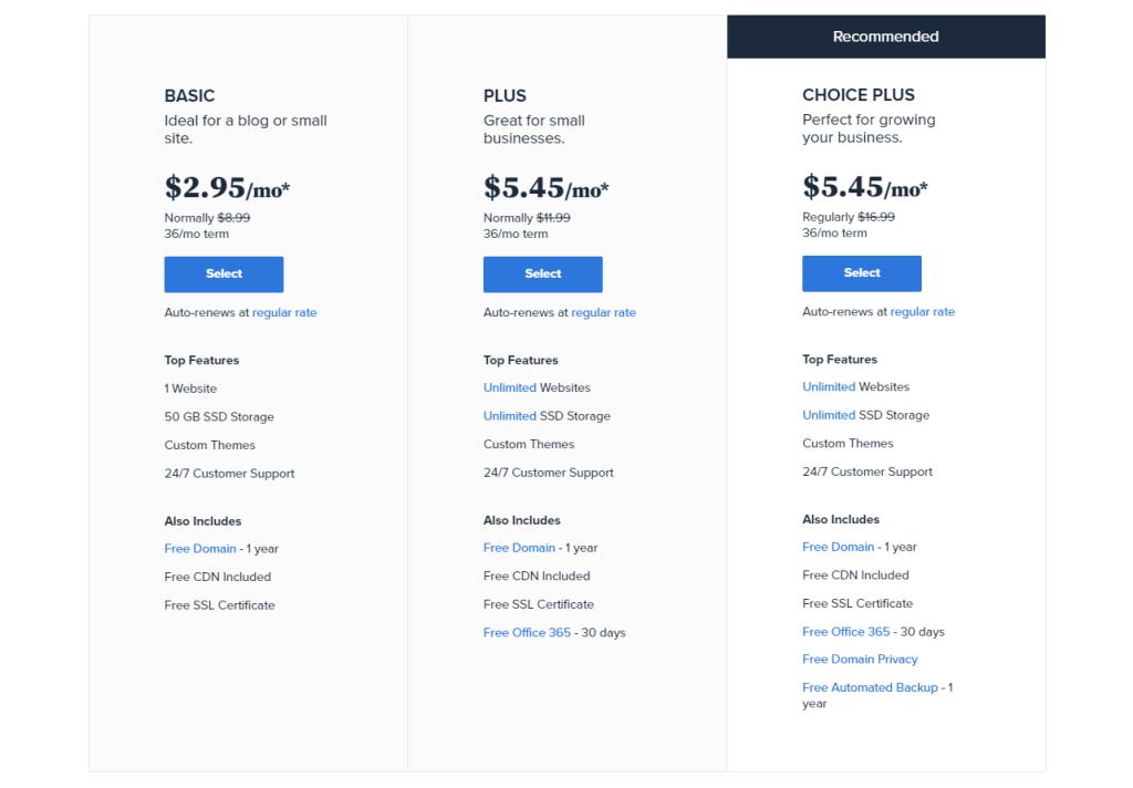 plans hébergement WordPress BlueHost