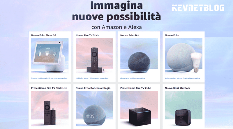 Nuovi dispositivi Amazon Echo, Fire TV, Always Home Cam, Eero 6 e Blink Indoor e Outdoor