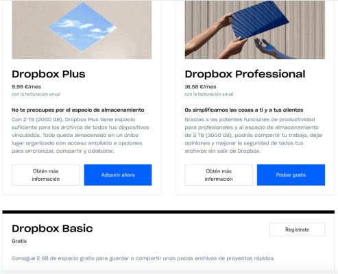 Dropbox freemium suscripción