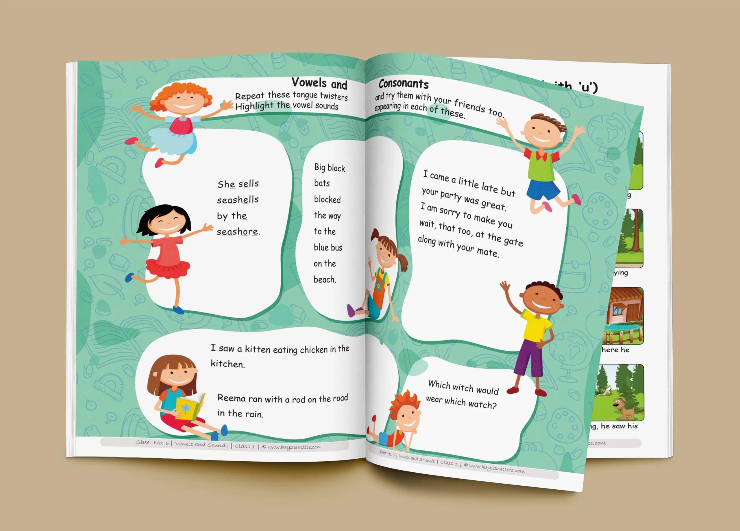 English Worksheets Grade 1 Workbook Vowels Amp Sounds