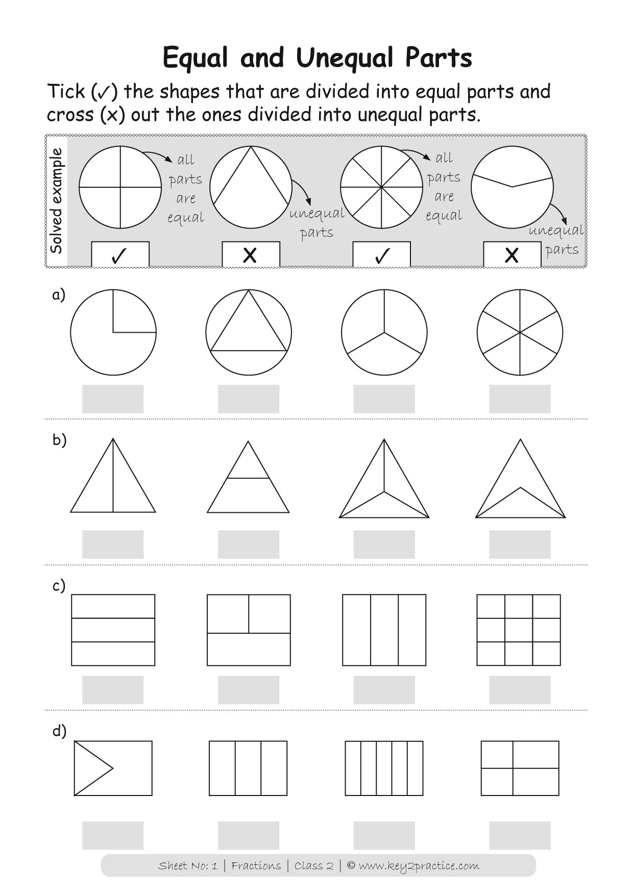 Maths Worksheets On Fractions For Grade 2