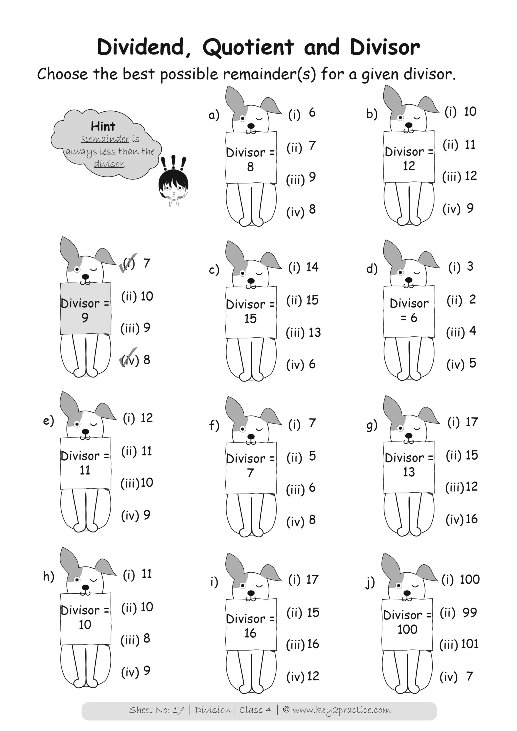 Grade 4 Division Worksheets I Maths