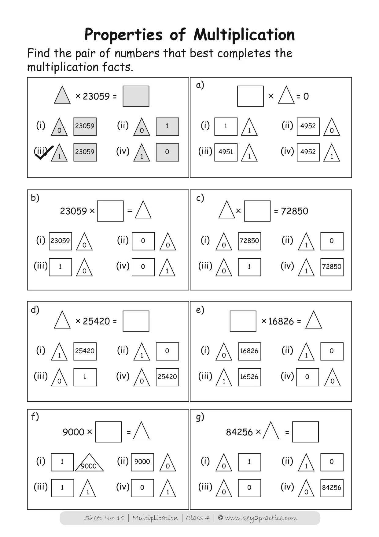 Maths Worksheets Grade 4 Multiplication