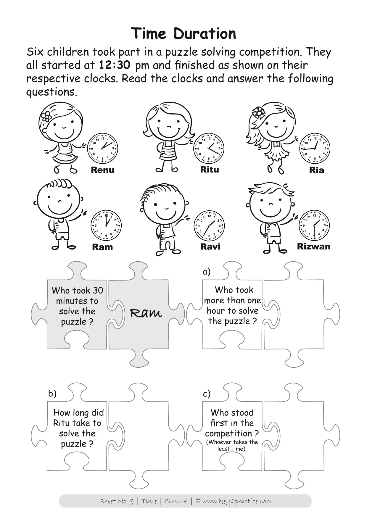 Maths Worksheets Grade 4 Time