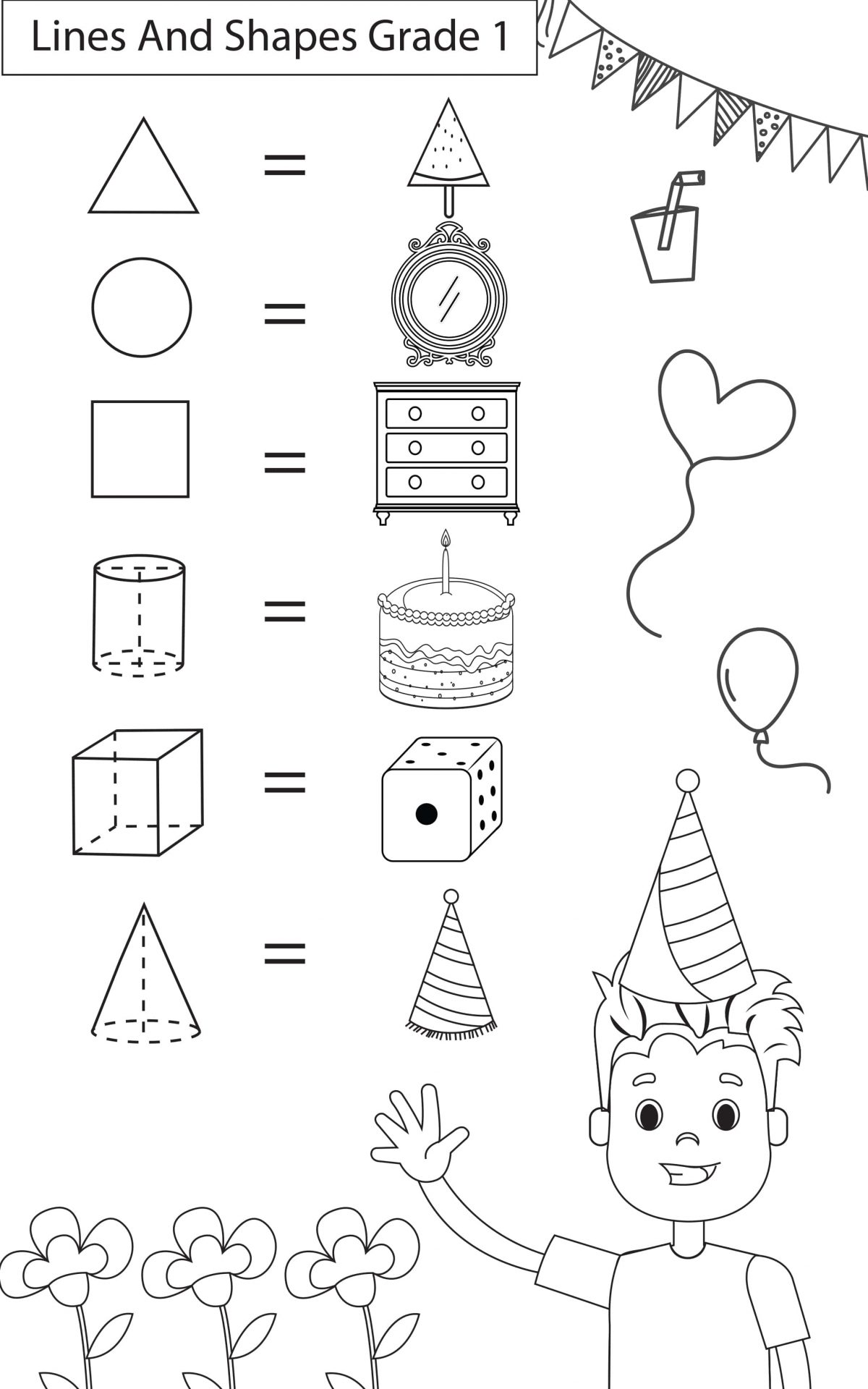 Maths Worksheets Grade 1 Lines Amp Shapes