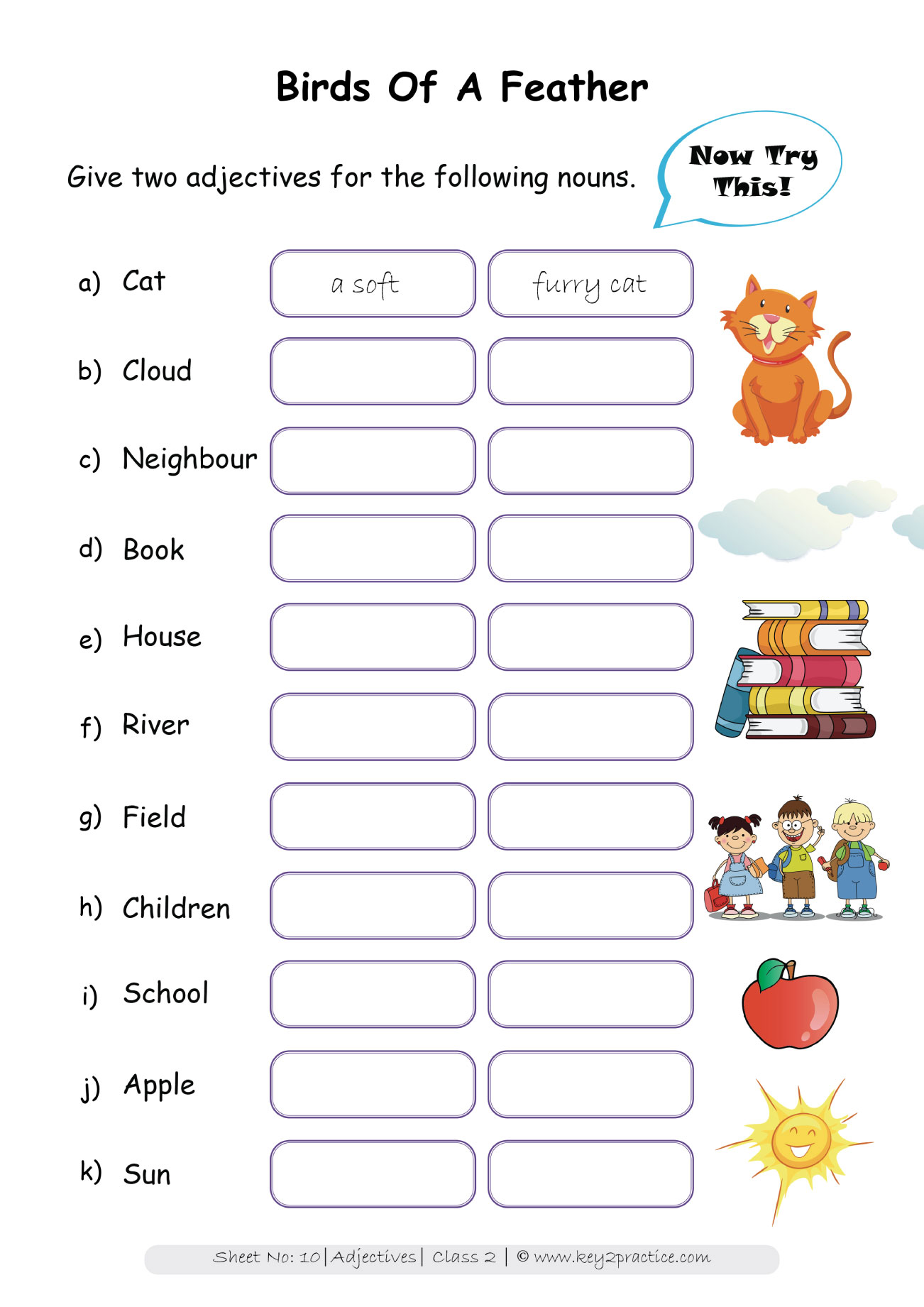 Worksheets On Adjectives Grade 2 I English