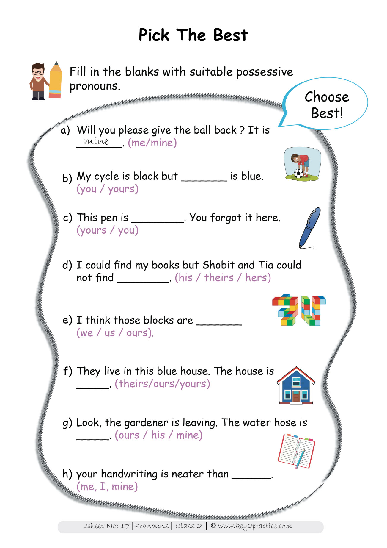 Pronouns Worksheets Grade 2 I English