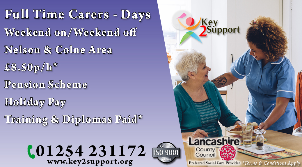Support Worker job nelson colne days