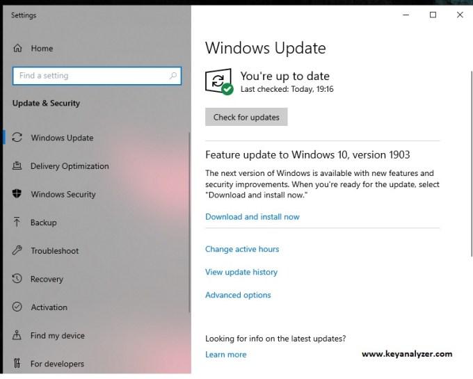 windows update settings windows 10