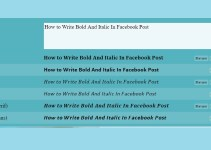 How to Write Bold And Italic In Facebook Post