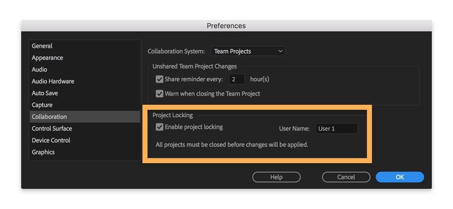 Adobe Premiere Pro project locking