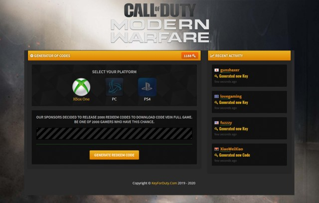 Call of Duty Modern Warfare Redeem Code Generator