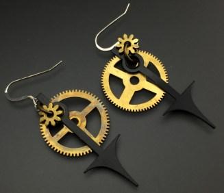 Steampunk Earrings: Clock Gears with Watch Hand - $39 (SW900)
