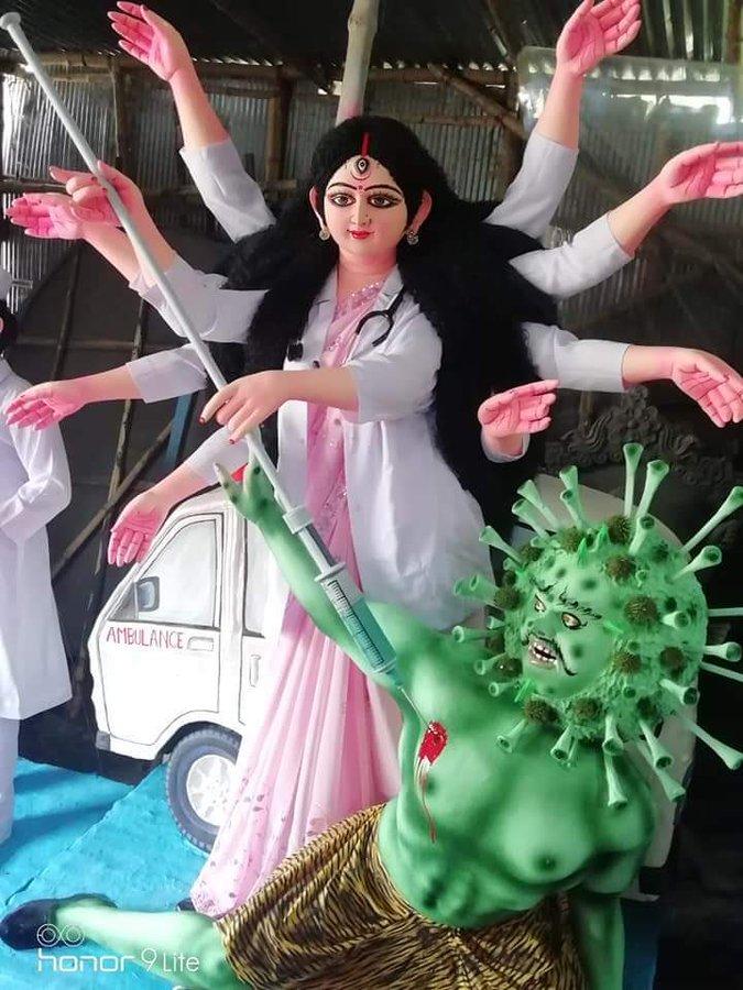 Covid-19 themed Durga Puja creativity from Kolkata