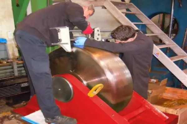 Material hardness testing of a steel rotator wheel