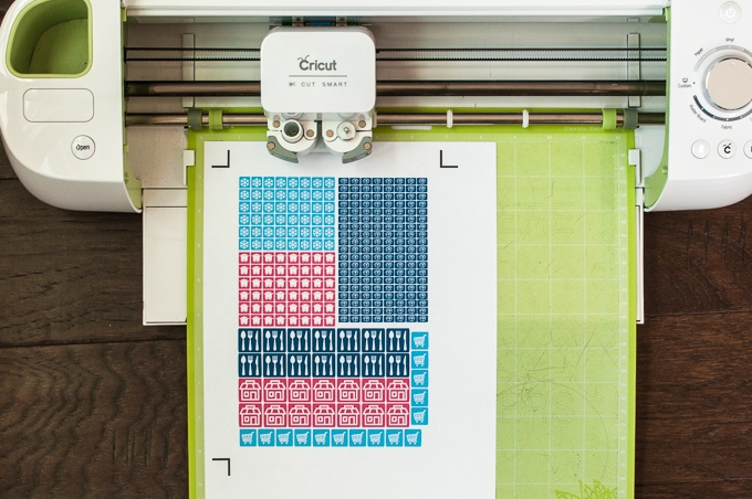 You can use the cricut explore to create and cut out your own stickers click
