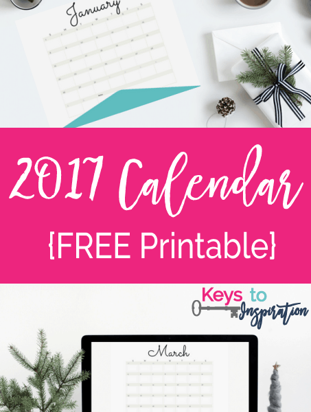 Free Printable 2017 Calendar. Bright fun colors and whimsical design! Love how simple this is!