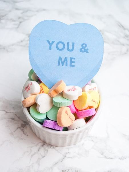 "Easy Cricut Explore tutorial for ""print then cut"" conversation heart valentines! These are adorable and perfect for kids valentines!"
