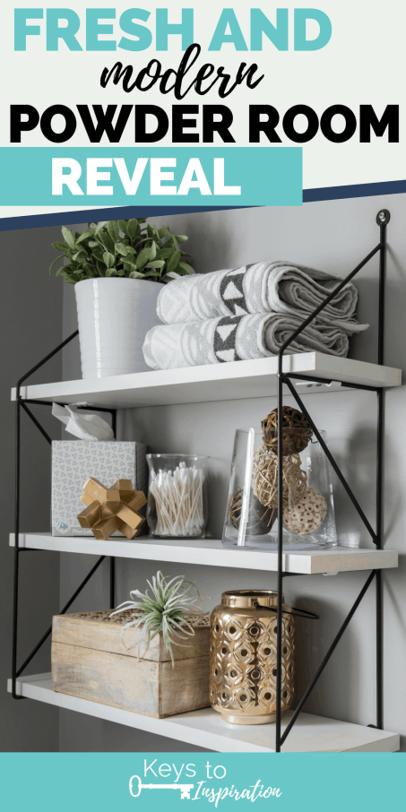 Styled shelves in a bathroom