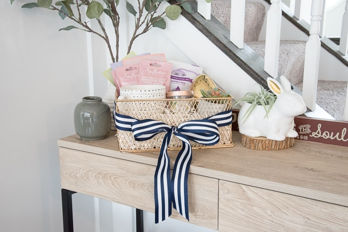 Great ideas for a grown up Easter basket. Easter ideas for adults. This basket is filled with all sorts of indulgences like spa items and chocolate!