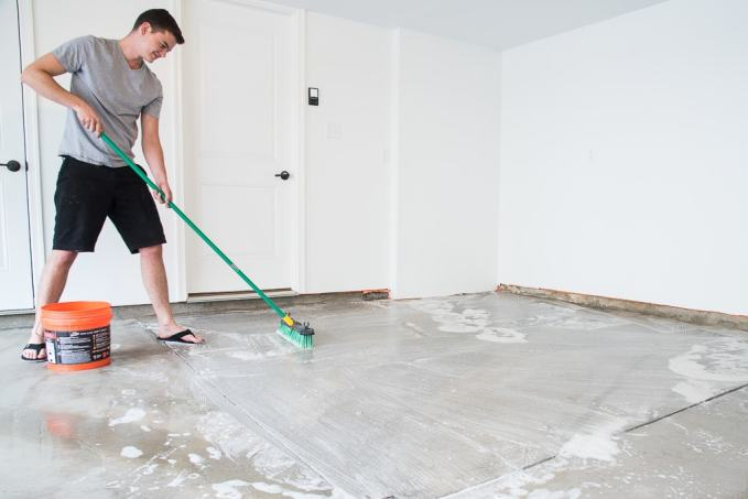 How to refinish a garage floor with rust oleum epoxyshield for What to use to clean cement garage floor
