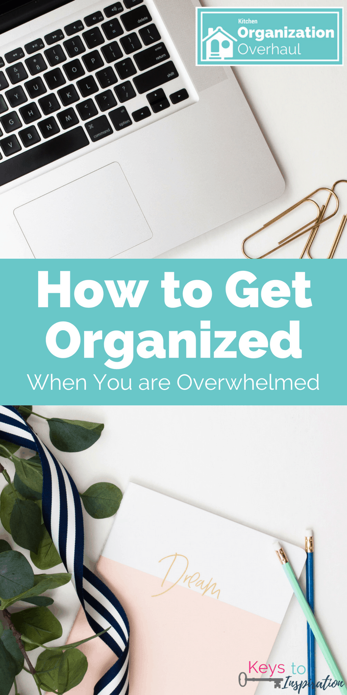 How to get organized when you are overwhelmed. Don't let the feeling of overwhelm make you give up before you even start. Tackle your big organizing project today!