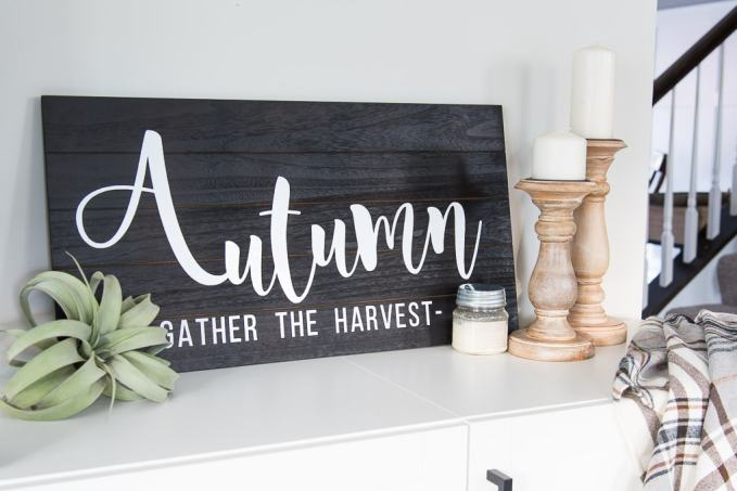 Wooden Autumn Hand-Lettered sign black pallet wood with white vinyl