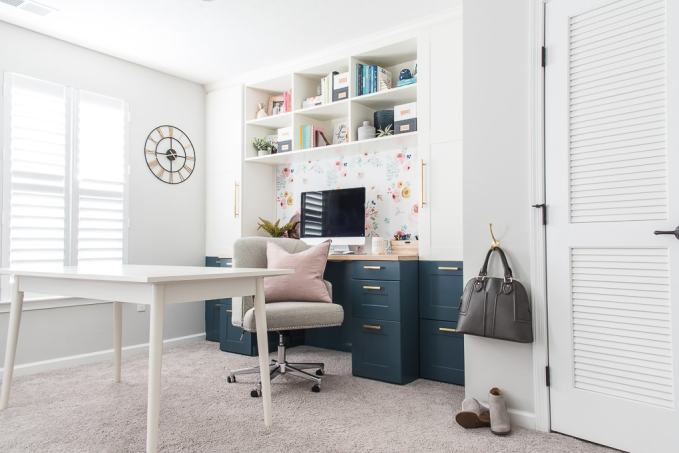 home office craft room IKEA SEKTION cabinets built-in desk and bookshelves