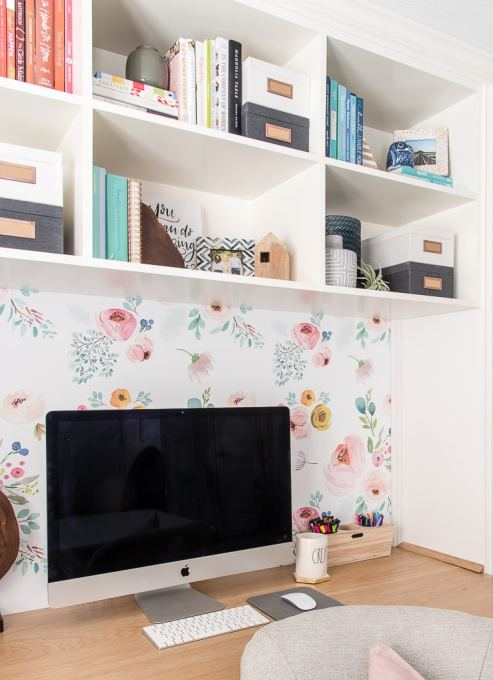 imac desktop computer on desk with floral background
