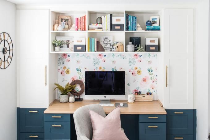 diy bookshelves styled on a built-in desk home office