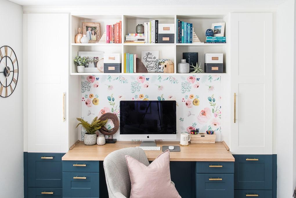 Diy Bookshelves Styled On A Built In Desk Home Office