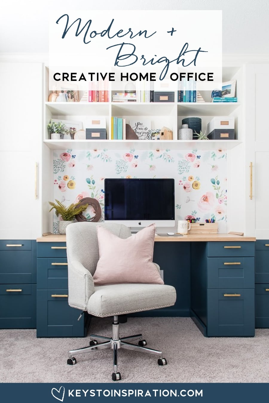 modern navy blue creative home office room reveal with IKEA SEKTION cabinets built as a desk