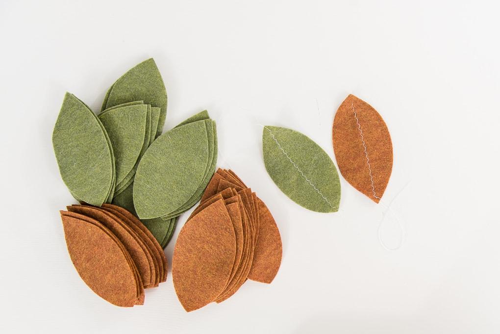 felt leaves green and tan pile